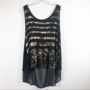 Lane Bryant draped back gold & black summer tan